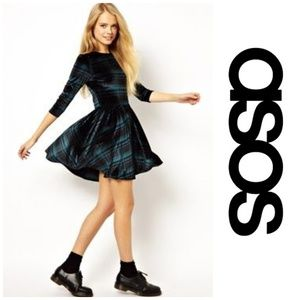Asos   Skater Checked Velvet Tartan Plaid Dress